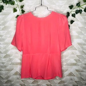 Broadway and Broome neon pink silk peplum top
